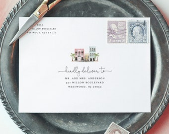 Charleston Wedding Address Template, Rainbow Row, Envelope Printable, Instant Download, 100% Editable Text, Digital, A7 & A1 #017B-138EN