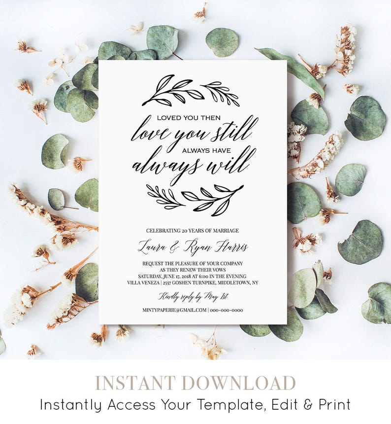 Renew Vows Invitation Template Printable Wedding Anniversary Etsy
