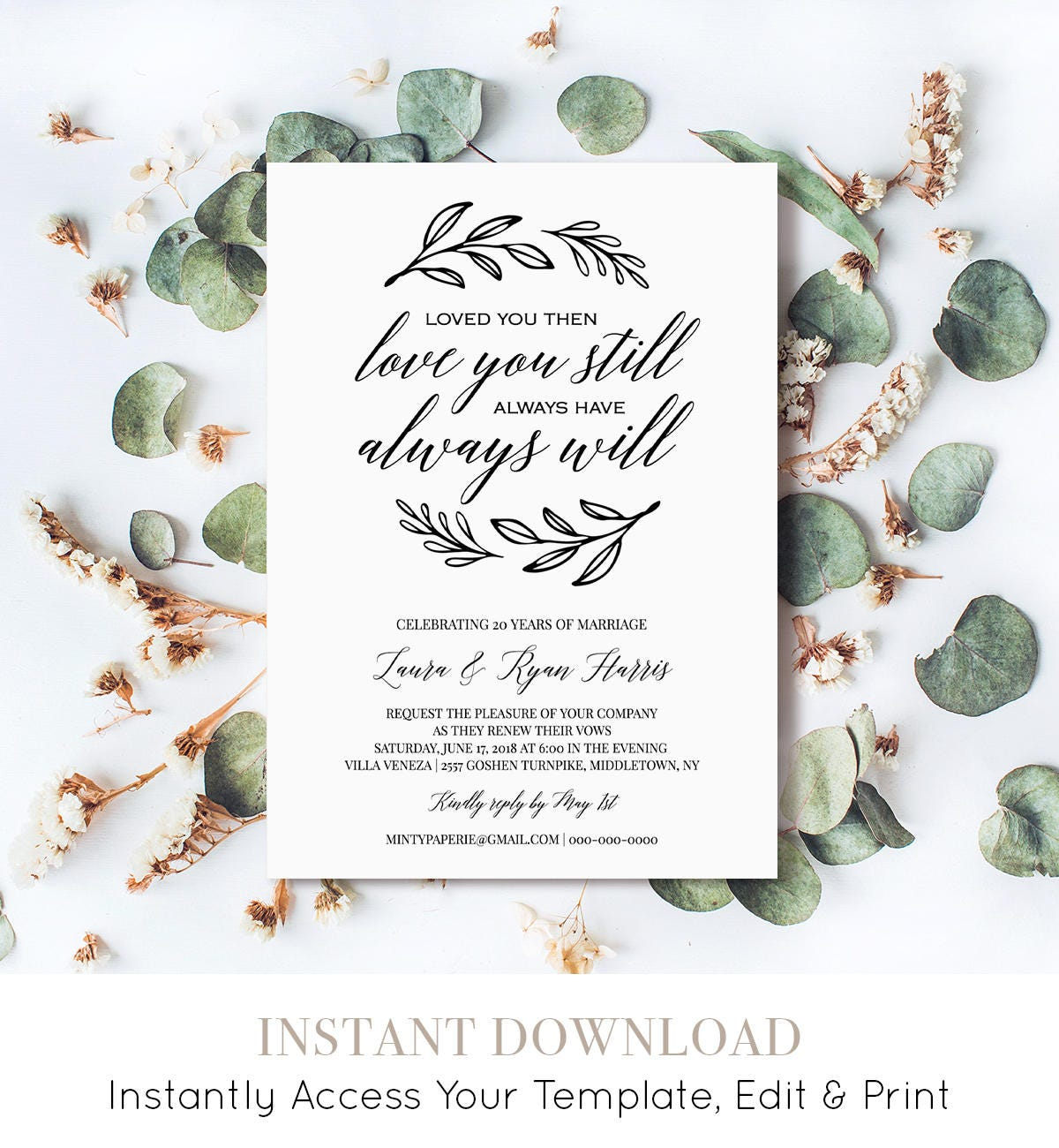 Renew Vows Invitation Template Printable Wedding Anniversary