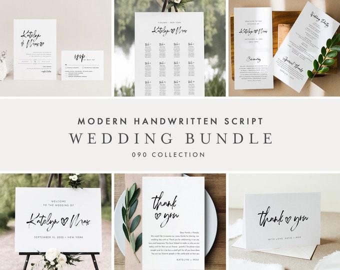 Handwritten Script Wedding Bundle, Modern Minimalist Invitation Suite + Wedding Essentials, 100% Editable Templates, Templett #090-BUNDLE