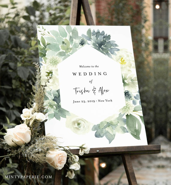 Succulent Welcome Sign Template, Greenery Wedding or Bridal Shower Welcome Sign Poster, Instant Download, Editable Text, Templett #075-160LS