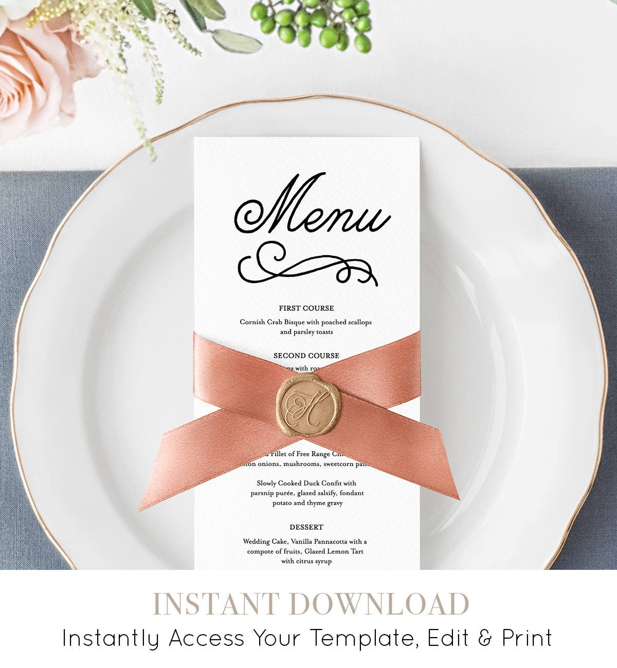 Editable Menu Template Romantic Wedding Reception Card Printable Men 100 Instant Download Digital Templett 035 105WM