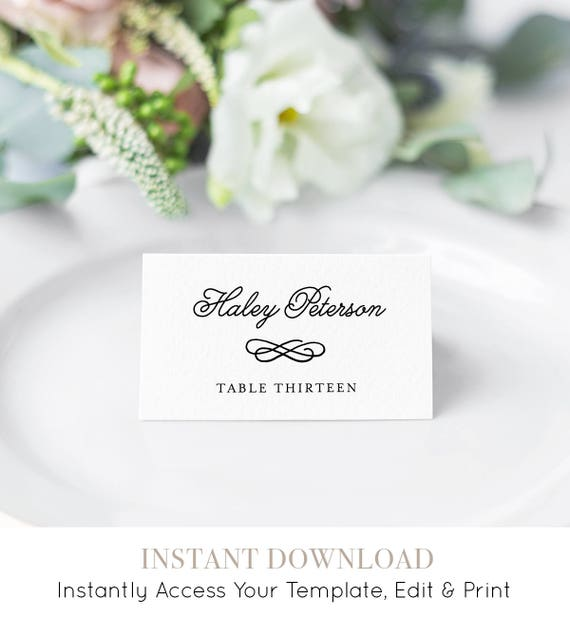 wedding place card template printable escort card name card etsy