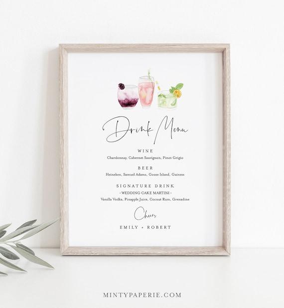 Drink Menu Sign, Editable Wedding Bar Menu Template, Printable Watercolor Cocktail Menu, Instant Download, Templett 8x10 #119BP-DM