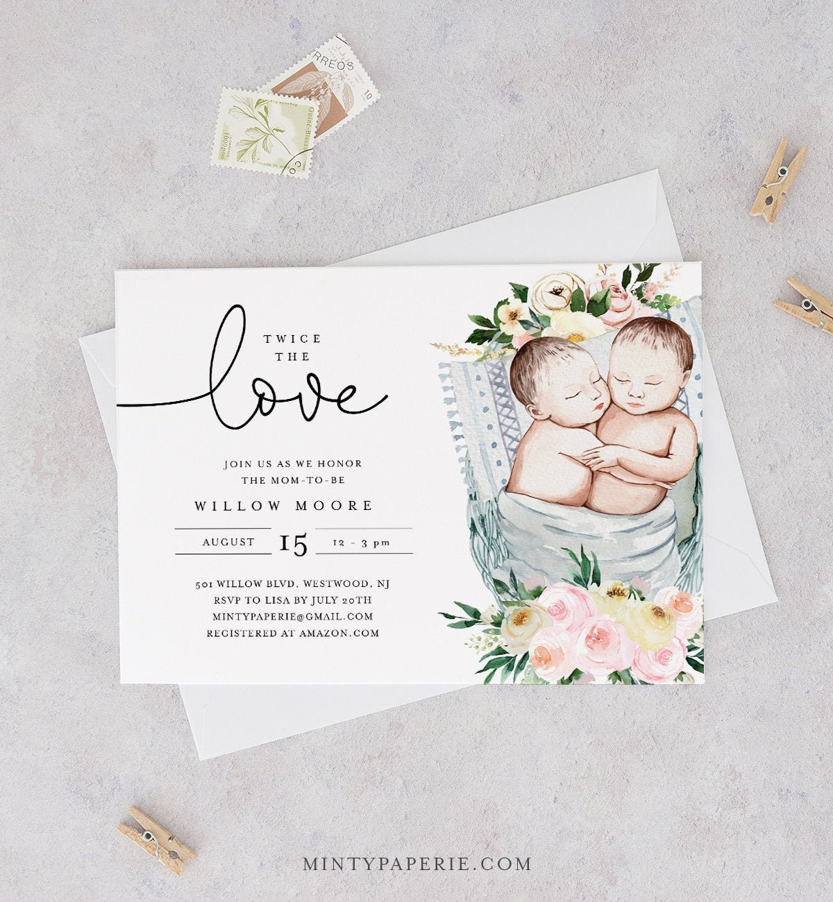 Twins Baby Shower Invitation Template Gender Neutral Twin Babies Girl Or Boy Twins Twice The Love Instant Download Templett 0005 176ba