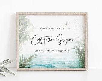 Beach Custom Sign Template, Tropical Destination Wedding Sign, Bridal Shower, Unlimited Signs, INSTANT DOWNLOAD, Templett #099-183CS