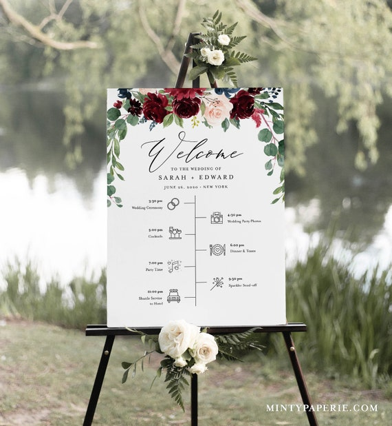 Welcome Sign and Timeline with Wedding Day Icons, Boho Merlot Florals Bridal Sign, Instant Download, Editable Template, Templett #062-188LS