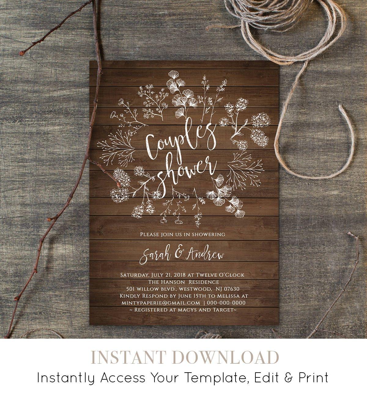 Diy Wedding Invitations Canada: Couples Shower Invitation Template Wedding Shower
