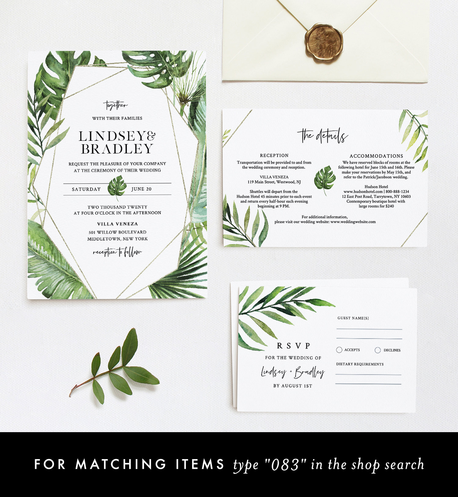 Tropical Menu Template, Palm Greenery and Gold Wedding ...