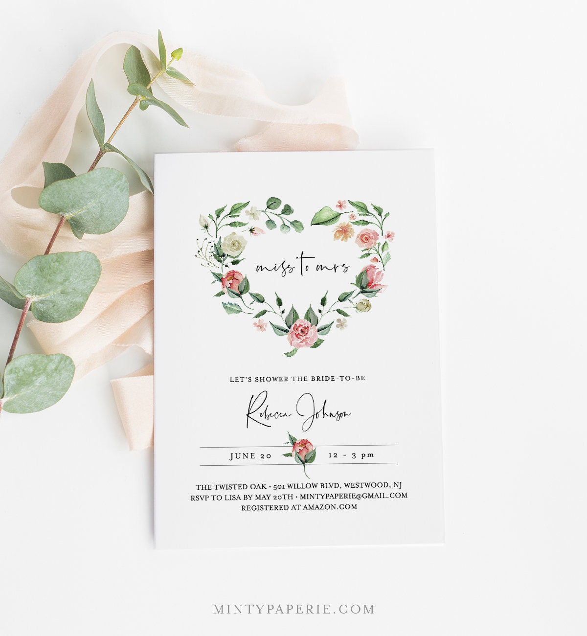 Valentine Bridal Shower Invitation and Thank You Card with Rustic Heart Wreath