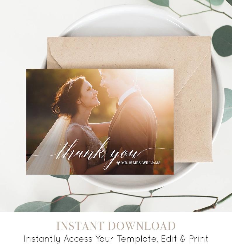 Wedding Photo Thank You Card Custom Thank You Card Folded & image 0