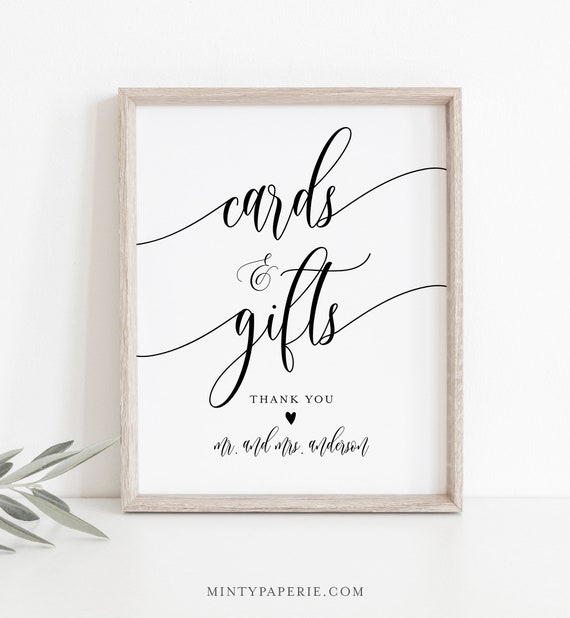 Cards and Gifts Sign, Printable Wedding Gift, Editable Template, Modern Calligraphy, Tabletop Sign, Instant Download, Templett 8x10 #008-08S