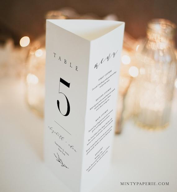 Wedding Table Number Tri-fold Card, 100% Editable, Minimalist Menu, In Lieu of Favors, Loving Memory, Wedding Program, Templett #037-101TT