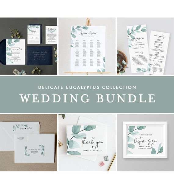 Eucalyptus Wedding Bundle, Greenery Wedding Essential Templates, Invitation Suite, Editable Text, Instant Download, Templett #049-BUNDLE