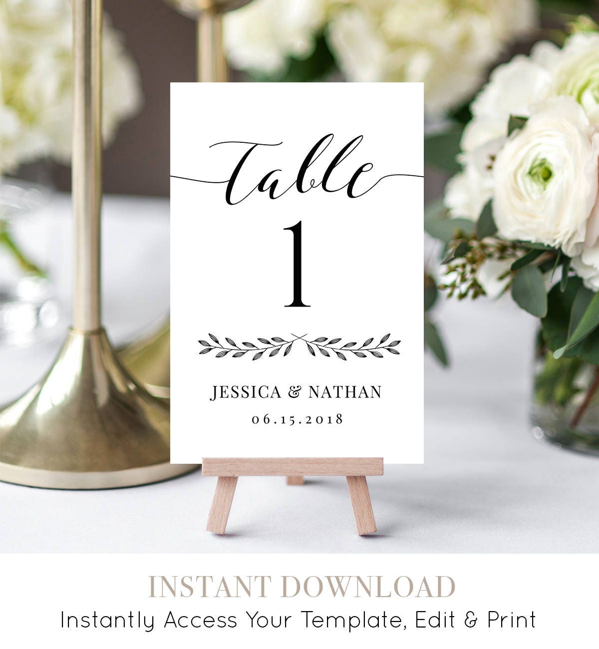 Wedding Table Number Card Printable Rustic Reception Seating Template Diy Table Card Template 100 Editable Digital 3 Sizes 024 106tc