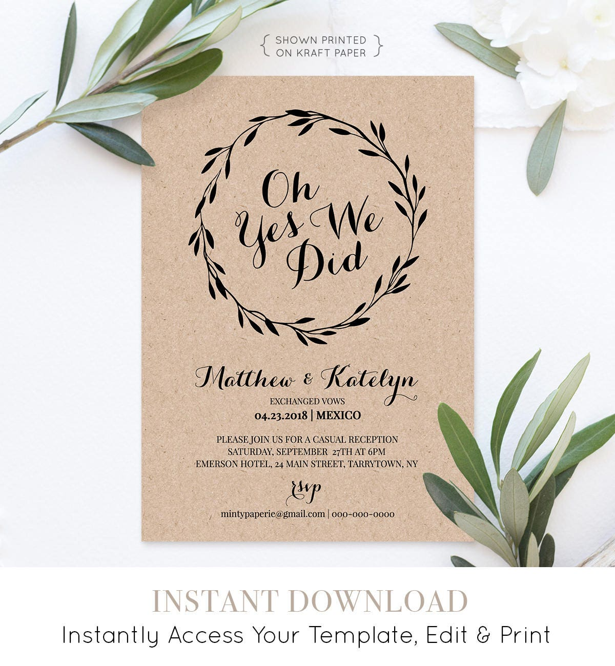 Elopement Announcement Printable Elopement Invitation Template Oh