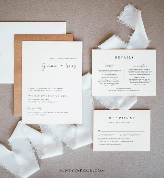 Modern Wedding Invitation Set, Simple, Minimalist, Clean Wedding Invite, RSVP, Detail, Editable Template, Instant Download, Templett #095A