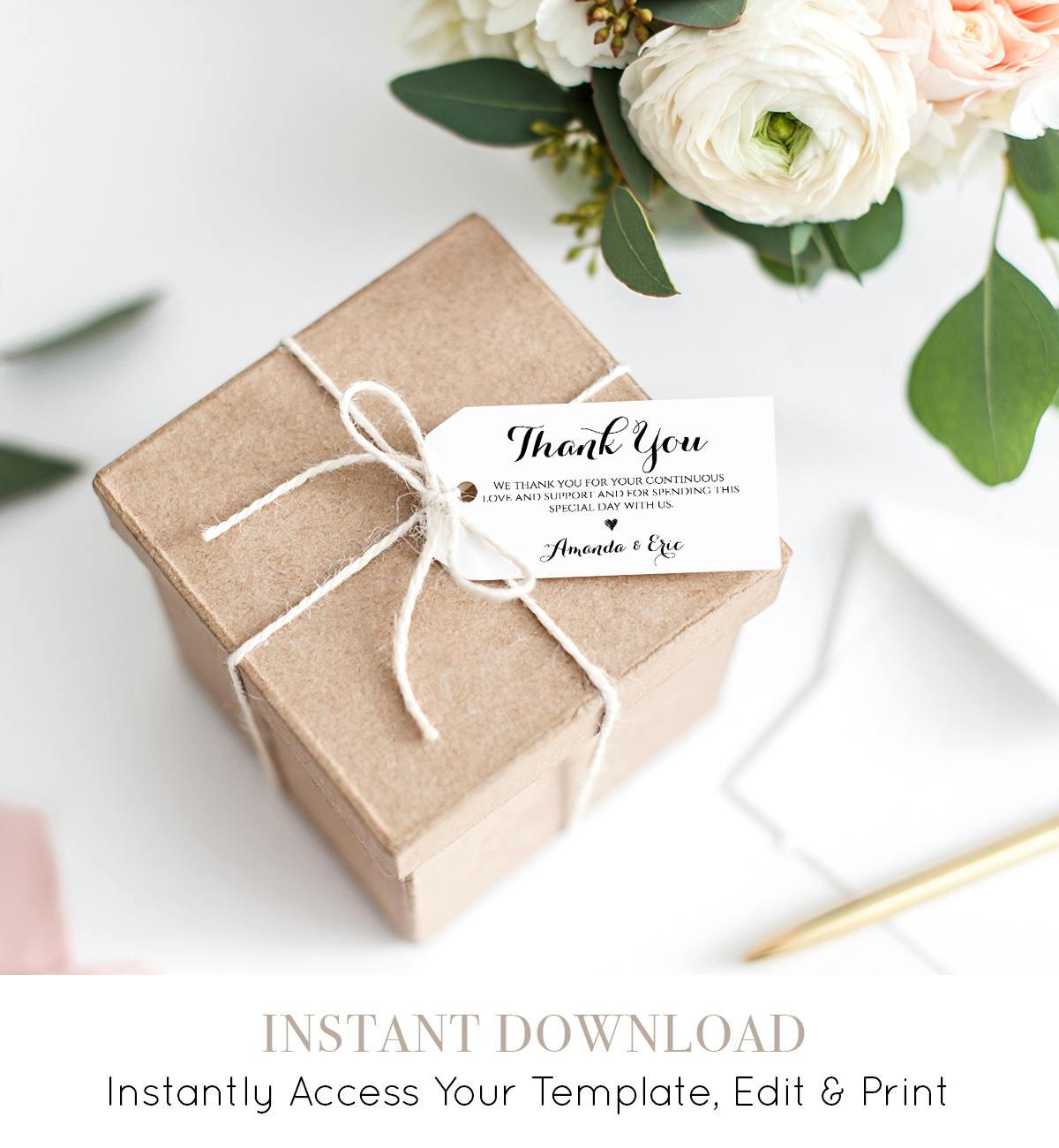 Printable Thank You Tag, Welcome Tag, Wedding Favor Tag, 100 ...