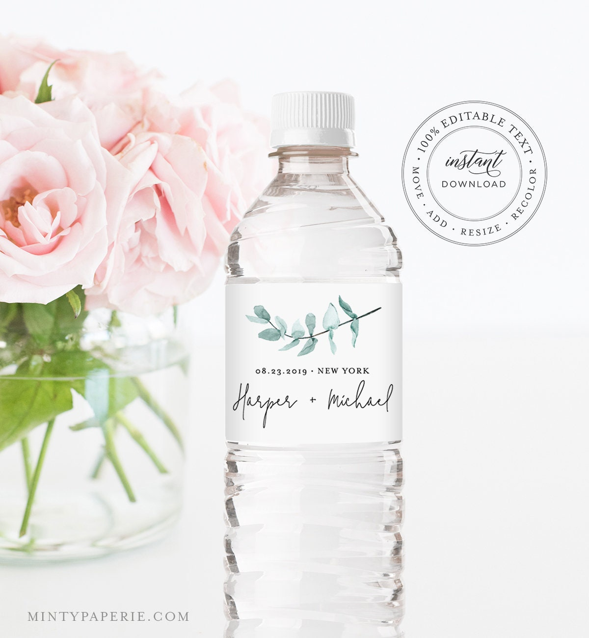 Water Bottle Label Template Instant Download Printable Custom Label 100 Editable Greenery Wedding Favor Bridal Shower Favor 049 109bl