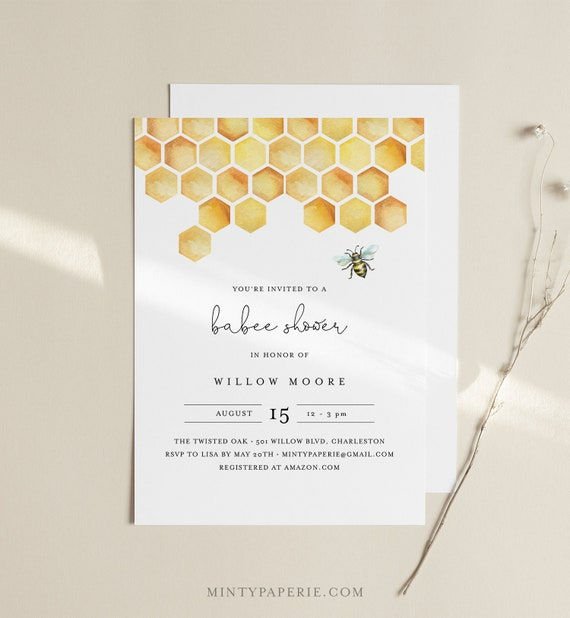 Babee Shower Invitation Template, Printable Bee Baby Shower Invite, Honeycomb, Instant Download, Editable Text, DIY, Templett #097-151BA