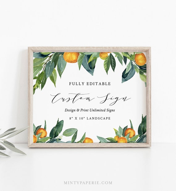 Custom Sign Template, Wedding / Bridal Shower Table Sign, Citrus Garden, Orange Grove, Unlimited Signs, INSTANT DOWNLOAD, Templett 084-134CS