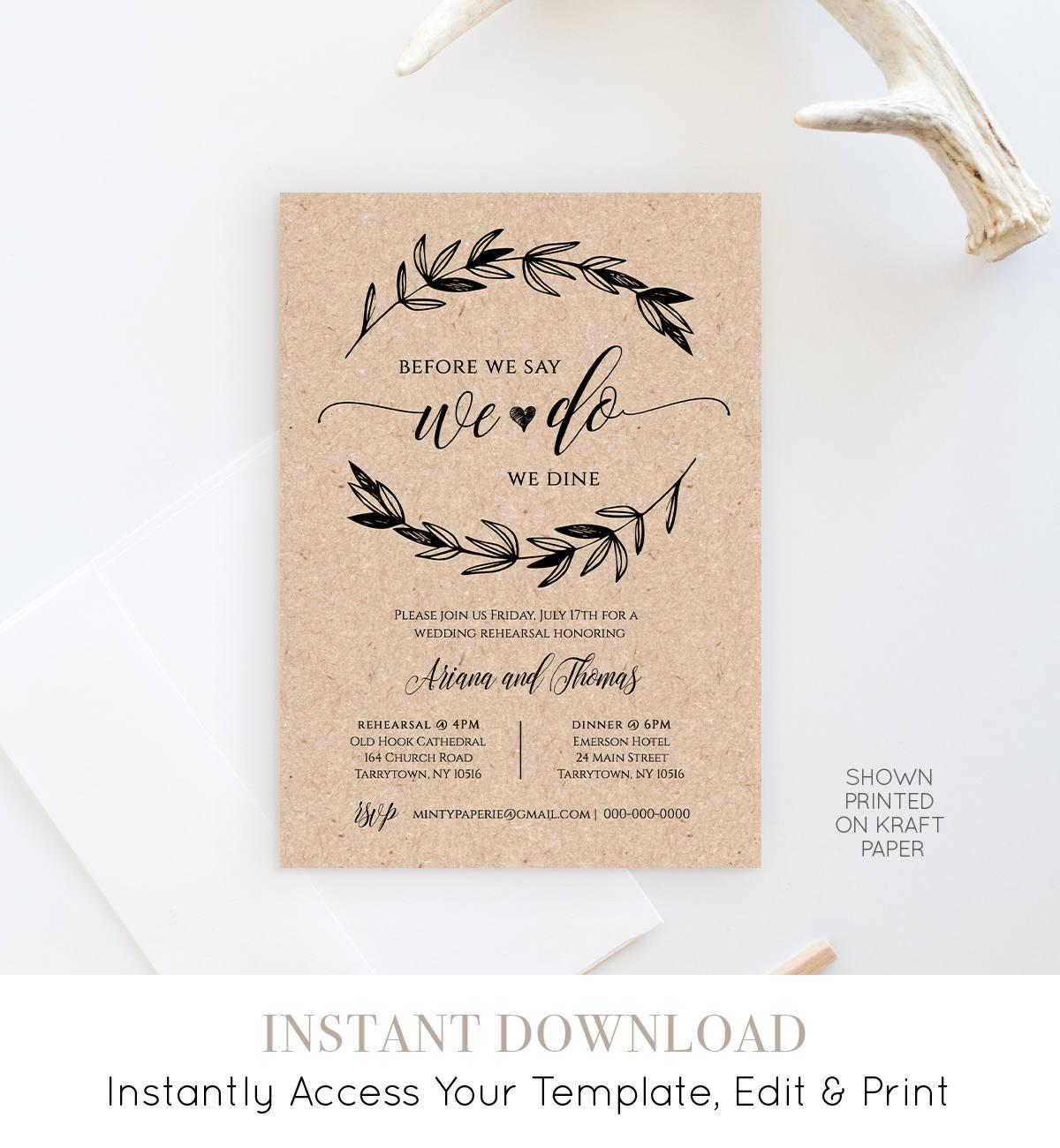 rustic wedding rehearsal invitation instant download printable