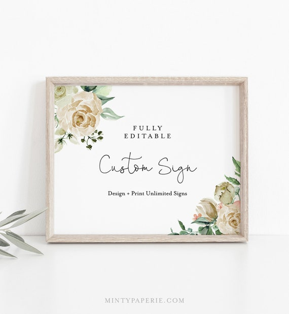 Custom Wedding Sign Template, Cream Roses, Bridal Shower Sign, Create Any Sign Unlimited Times, INSTANT DOWNLOAD, 3 Sizes #057-129CS