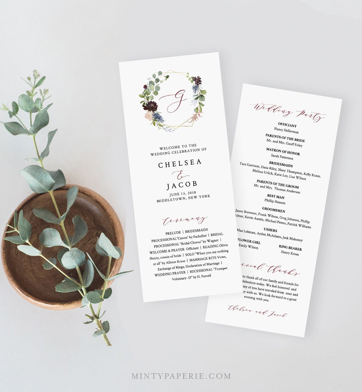 wedding program template instant download printable order of