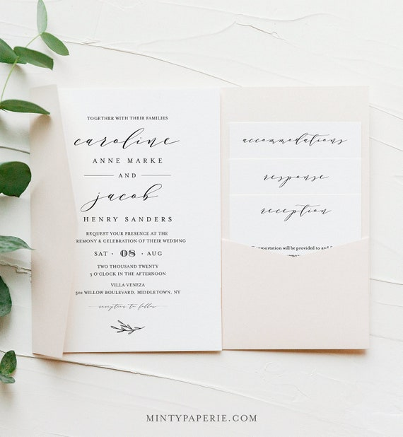 Pocket Wedding Invitation Set, Minimalist Calligraphy Invite & Enclosure Cards, Instant Download, 100% Editable Template, Templett #037PF