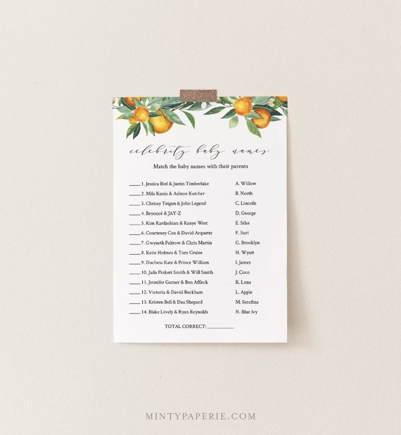 Celebrity Baby Name Game, Printable Baby Shower Game, Baby Name Game, Summer Citrus Orange, Editable Template, INSTANT DOWNLOAD #084-144BASG
