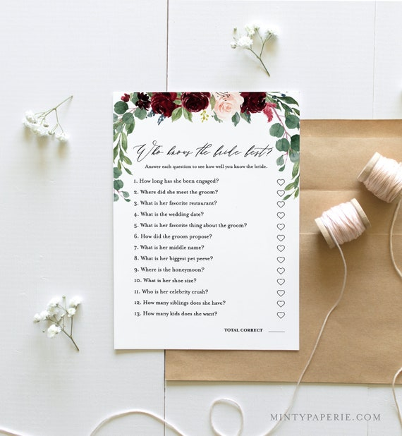 Who Knows the Bride Best, How Well Do You Know the Bride, Bridal Shower Game, Instant Download, Editable Template, Printable  #062-131BG