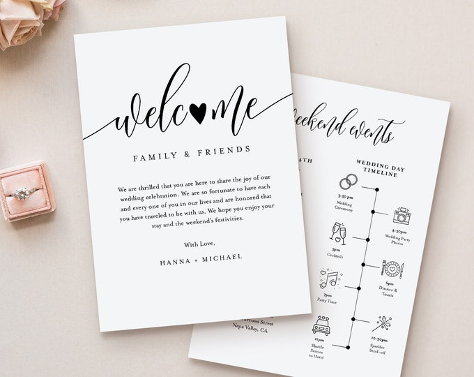 Wedding Timeline & Welcome Letter Template, Minimalist Wedding Welcome Bag Order of Events, INSTANT DOWNLOAD, 100% Editable Text #008-134WB