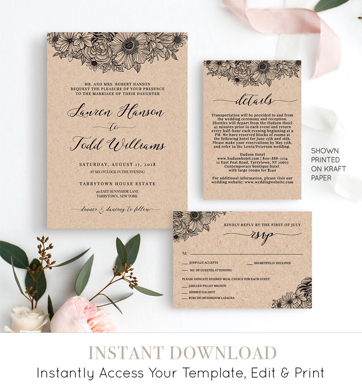 Diy Wedding Invitations Pinterest: Wedding Invitation Set, Rustic Floral Wedding Invite
