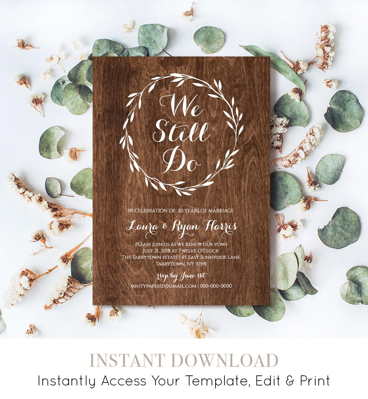 Vow Renewal Invitation INSTANT DOWNLOAD We Still Do Rustic