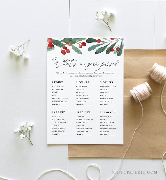 What's In Your Purse Bridal Shower Game Template, Winter Bridal Shower Printable, Holly & Greenery, Instant Download, Templett #071-199BG