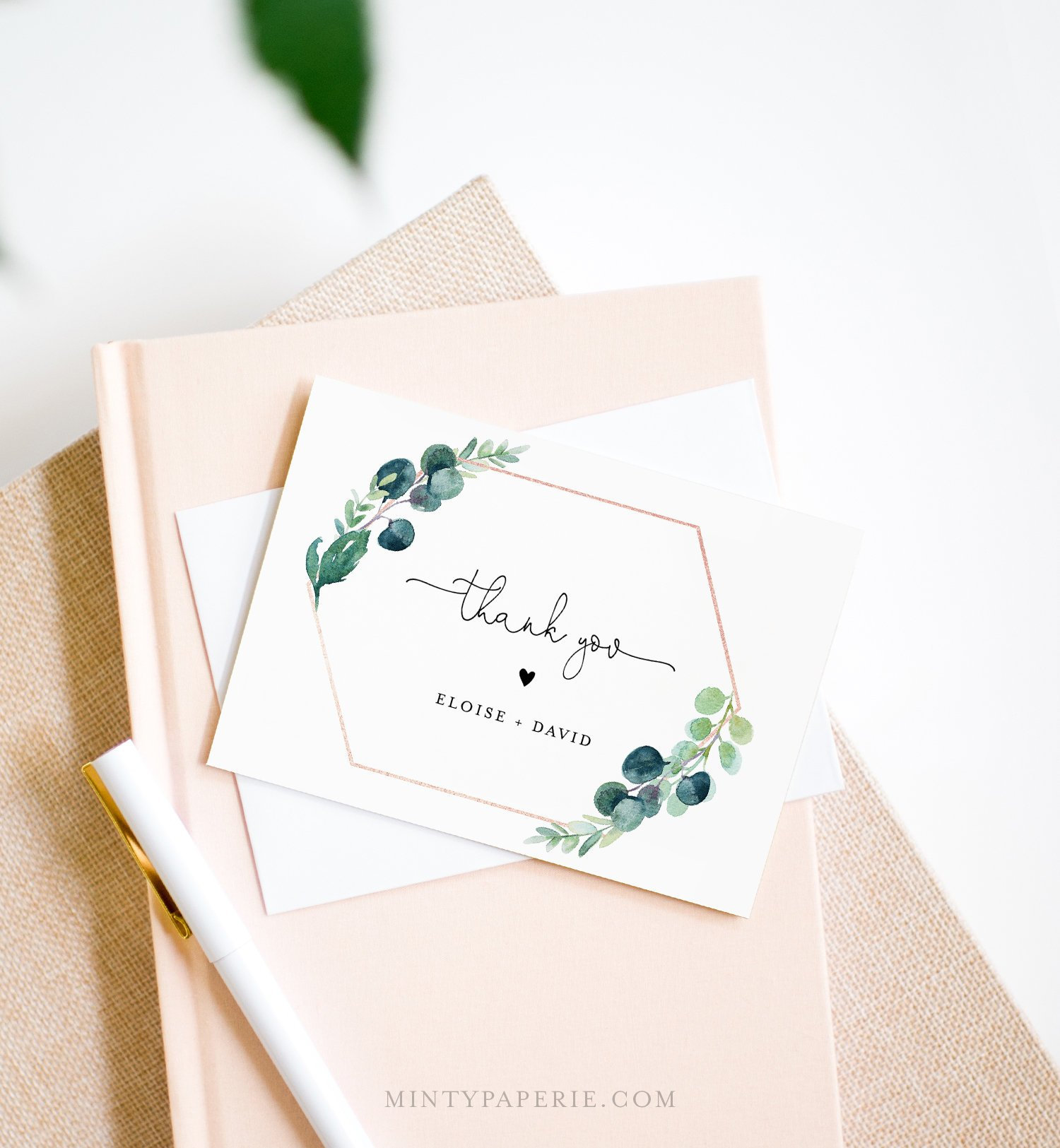 Greenery Thank You Card Template Editable Wedding Bridal