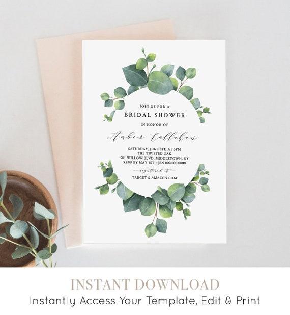 Eucalyptus Bridal Shower Invitation Template, Greenery Wedding Shower Invite, Printable, 100% Editable, INSTANT DOWNLOAD Templett #036-116BS