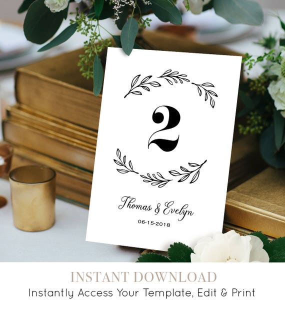 Wedding Table Number Template, Printable Table Card, Seating Card, Rustic Wreath, 100% Editable Template, DIY Wedding Reception #027-109TC