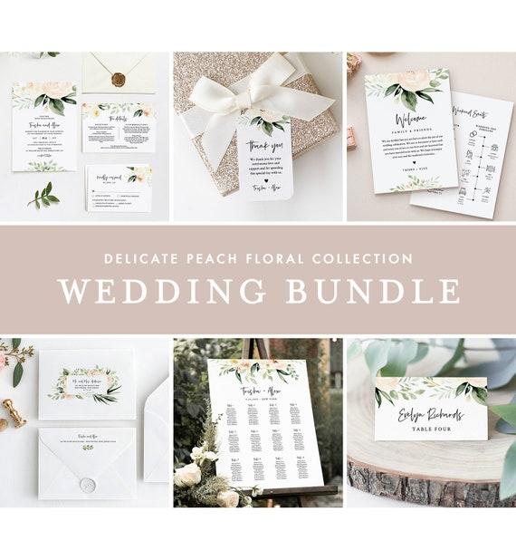Delicate Peach Floral Wedding Bundle, Wedding Essential Templates, Invitation Suite, Editable Text, Instant Download, Templett #076-BUNDLE