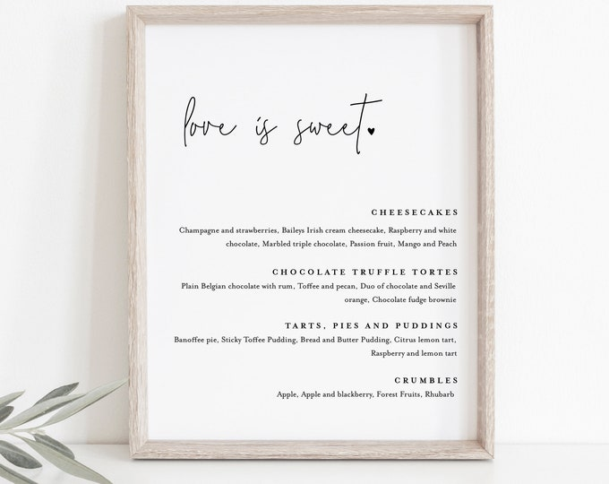 Minimal Dessert Menu Sign, Love is Sweet, Printable Wedding Dessert Bar Station, Editable Template, Instant Download, Templett #095A-104DM
