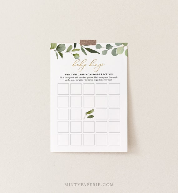 Baby Bingo Game, Printable Greenery and Gold Baby Shower Game, DIY Template, 100% Editable Text, Instant Download, Templett  #056-117BASG