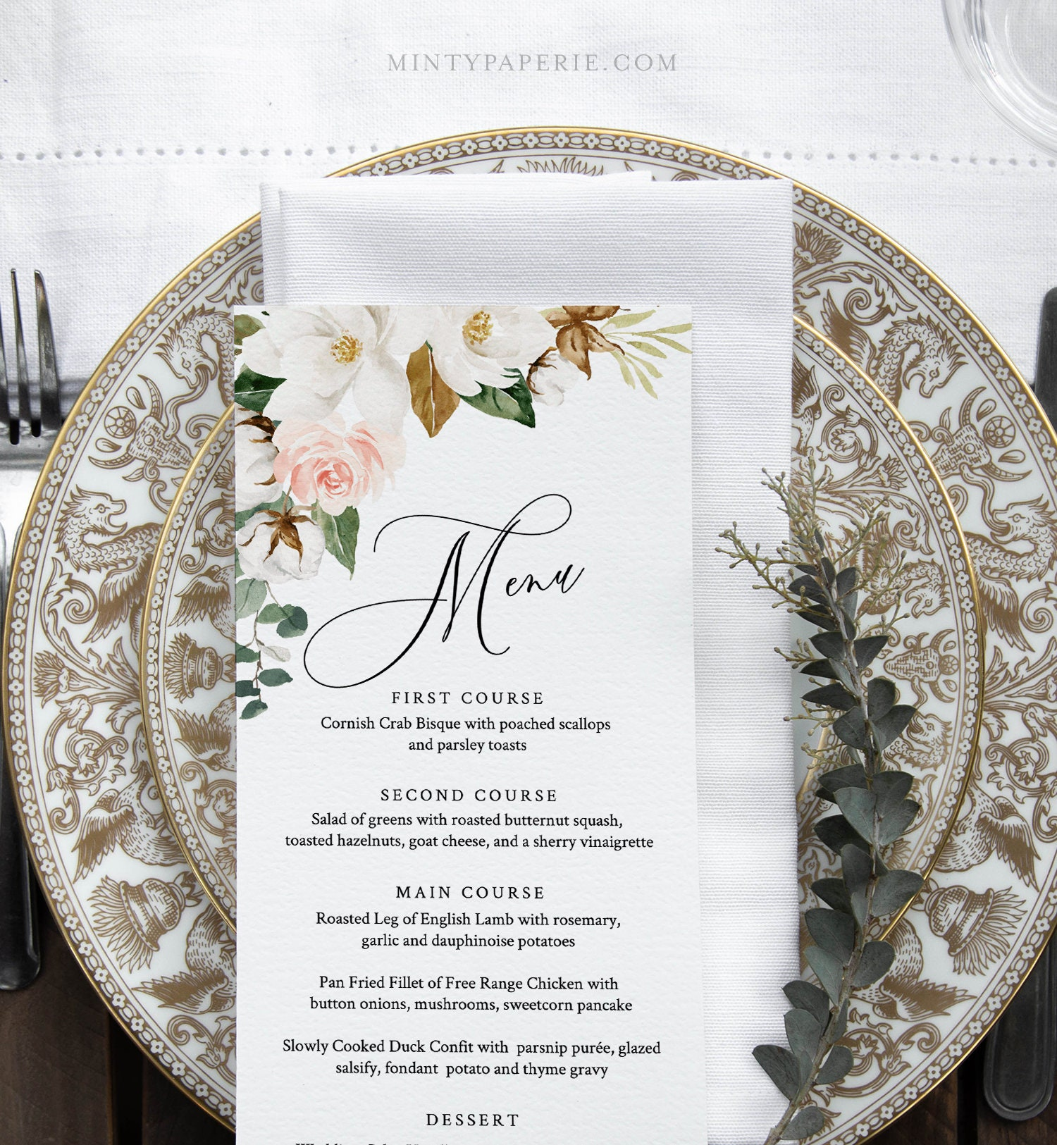 Southern Wedding Reception Food: Wedding Menu Template, Southern Magnolia Menu Card