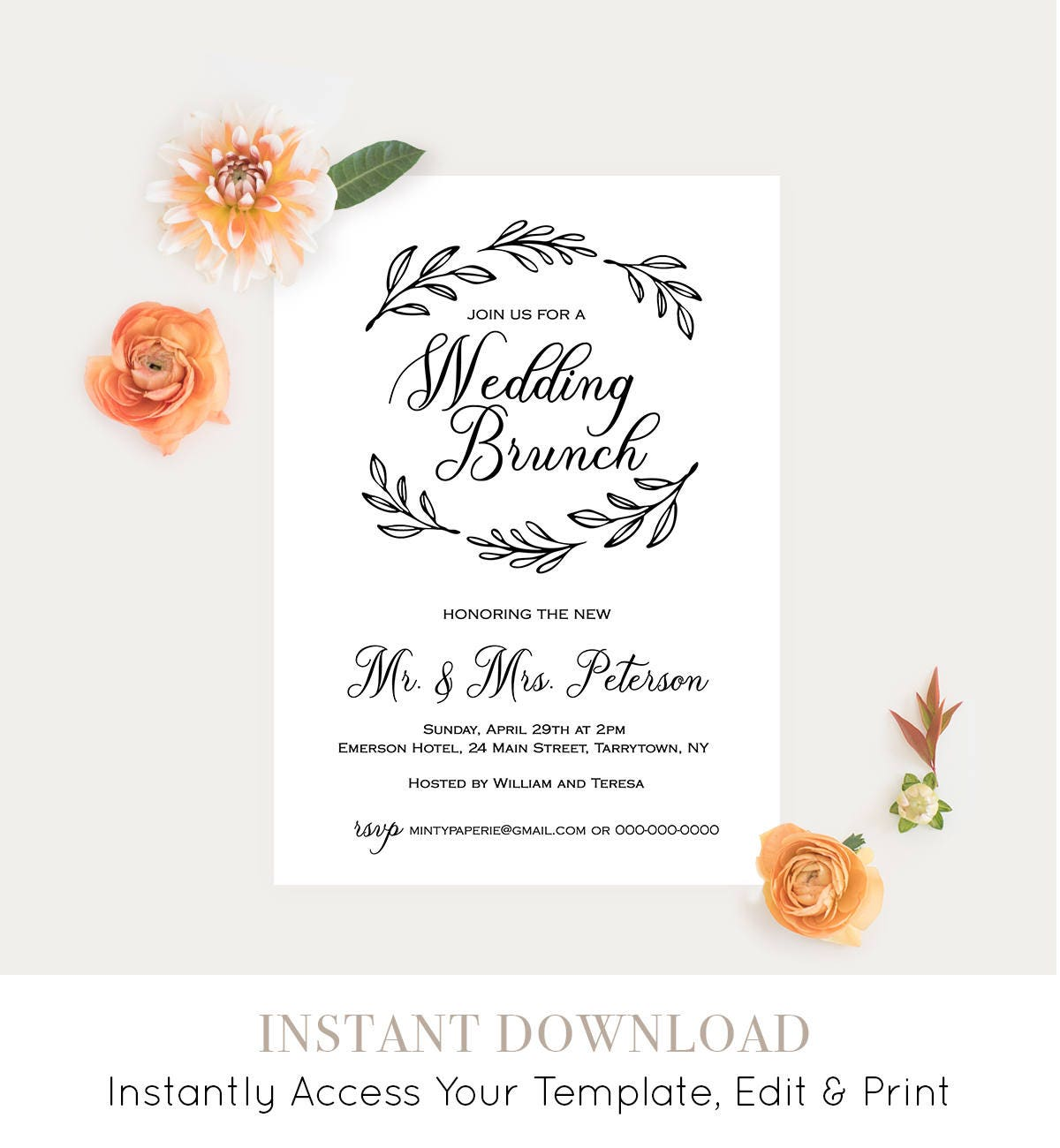Wedding Brunch Template, Post Wedding Brunch Invitation, Fully ...