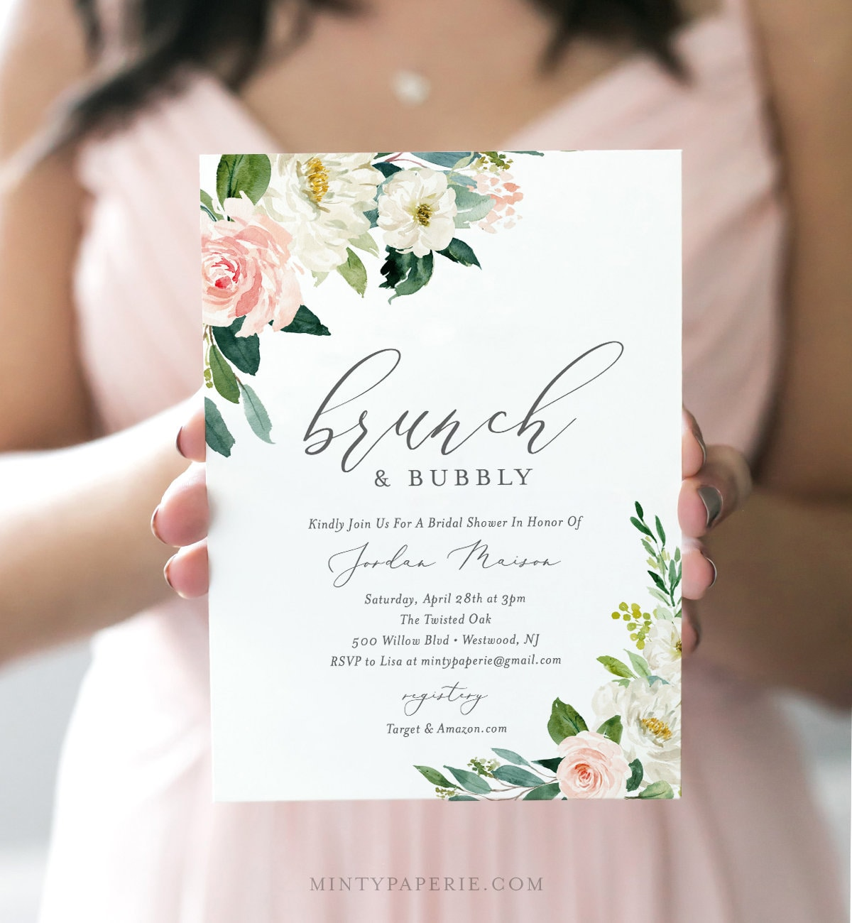 Brunch and Bubbly Bridal Shower Invitation Template, INSTANT ...