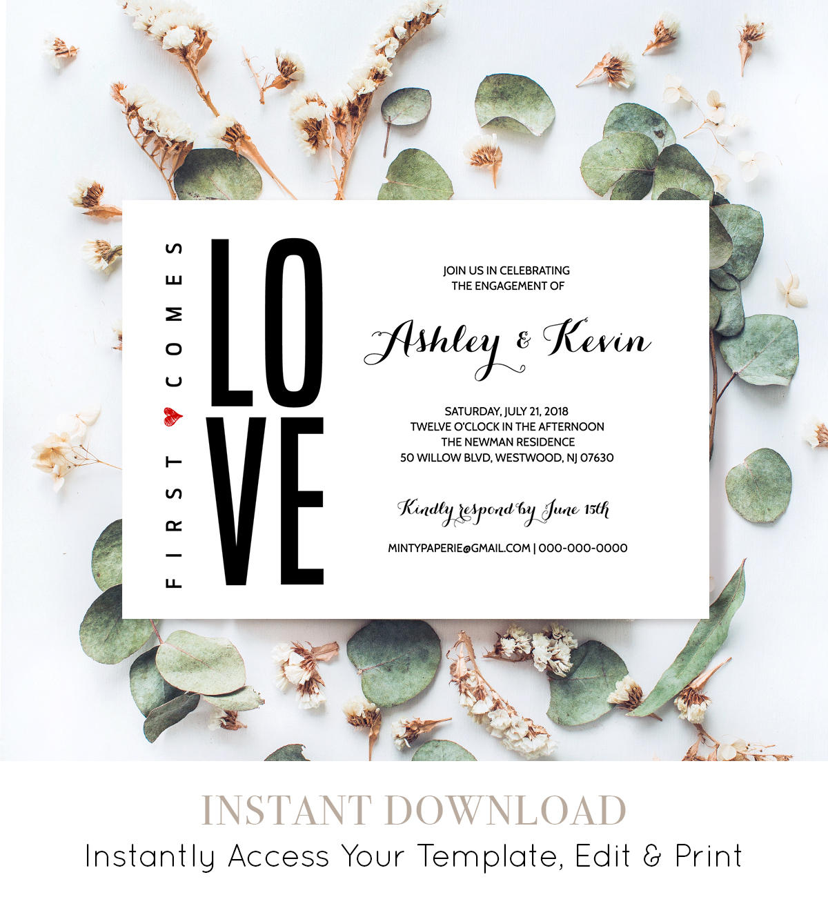 Printable Engagement Party Invitation Template, Modern Engagement ...