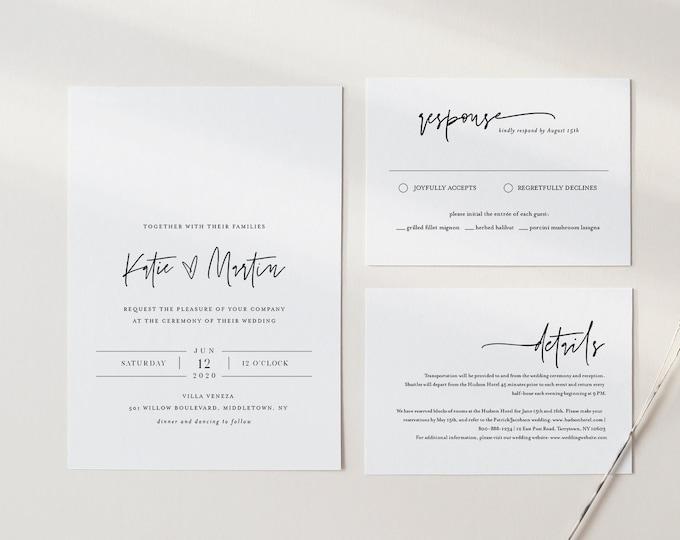 Minimalist Wedding Invitation Set, Simple, Modern, Basic Wedding Invite, RSVP, Detail, Editable Template, Instant Download, Templett #0009A
