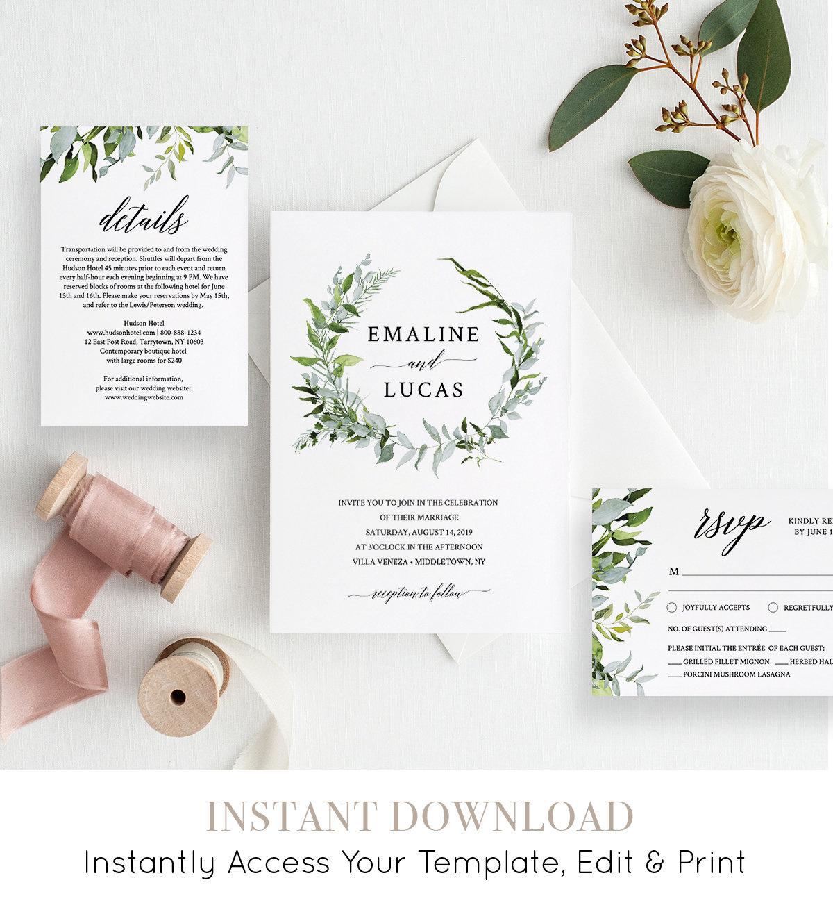 Floral Greenery Wreath Blaire Templett DIY Instant Download Digital Editable PDF Printable Response Card Wedding Invitation RSVP Template