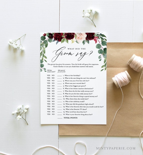 What Did the Groom Say Bridal Shower Game Template, Editable Questions, INSTANT DOWNLOAD, Printable Shower Game, Templett, DIY #062-126BG