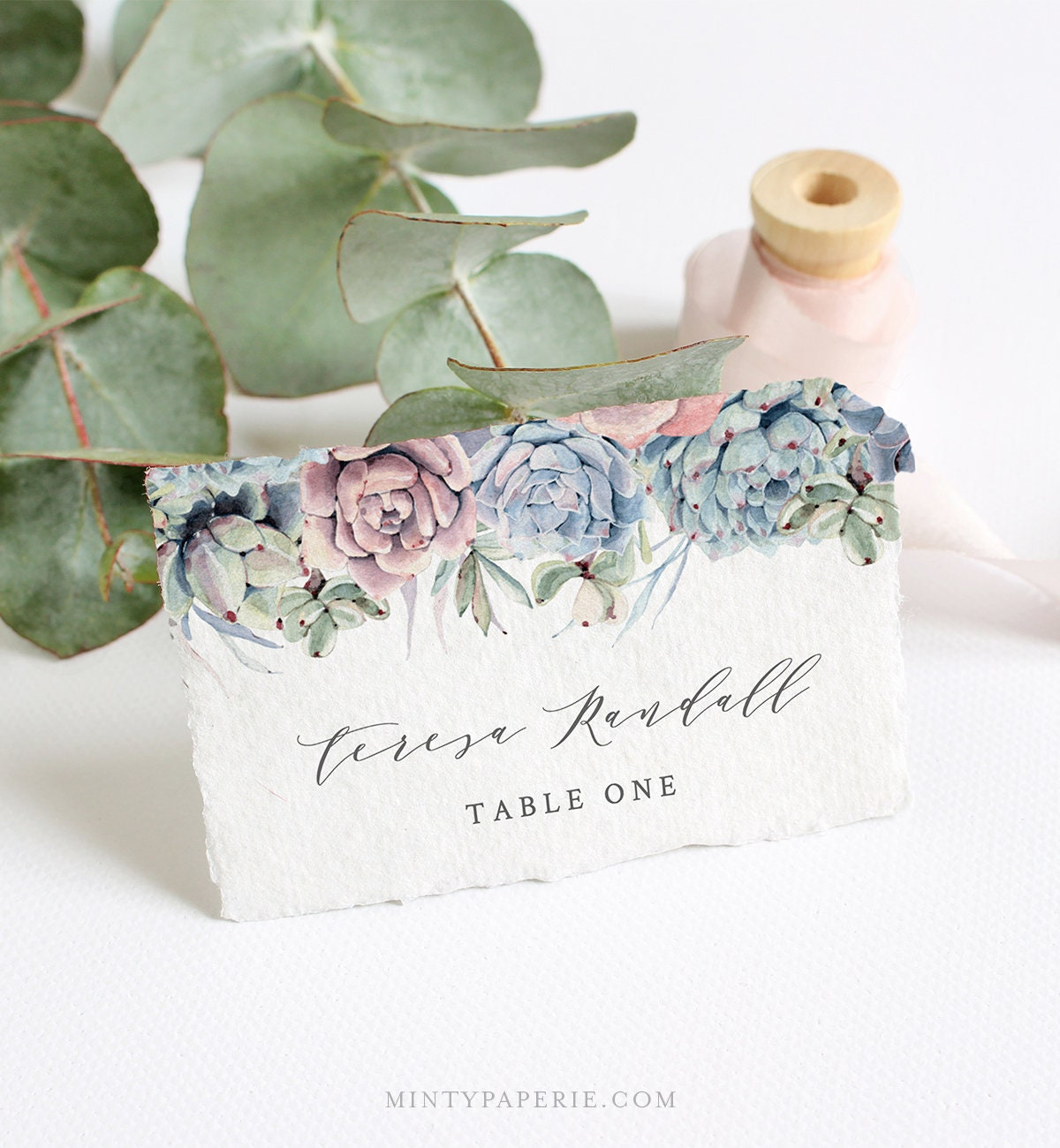 Succulent Place Card Template, INSTANT DOWNLOAD, Printable