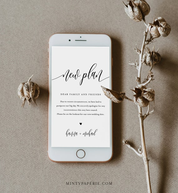 Postponed Wedding Date Announcement, New Plan, Wedding Postponed, Evite, Text Message, 100% Editable, INSTANT DOWNLOAD #008-120SDD